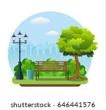 bench with tree and lantern in... | Shutterstock .eps vector #646441576