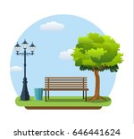 bench with tree and lantern in... | Shutterstock .eps vector #646441624