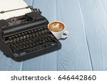 typewriter on desk. | Shutterstock . vector #646442860