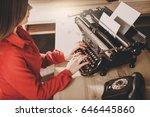 Secretary At Old Typewriter...