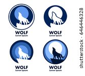 wolf with moon emblems | Shutterstock .eps vector #646446328