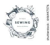 """sewing"" vintage background... | Shutterstock .eps vector #646447576"
