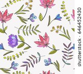 vector floral seamless pattern. ... | Shutterstock .eps vector #646452430