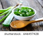 aloe vera plant on wooden...   Shutterstock . vector #646457428