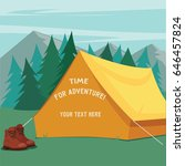 tent for camping on the forest... | Shutterstock .eps vector #646457824