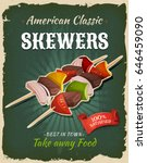 retro fast food skewers poster  ... | Shutterstock .eps vector #646459090