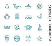 vector set sea icons. line... | Shutterstock .eps vector #646463860