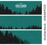 night forest. vintage banners. | Shutterstock .eps vector #646469533