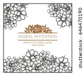 invitation with floral... | Shutterstock . vector #646470190