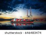 ship in dock import export... | Shutterstock . vector #646483474