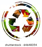 grunge colorful recycling icon... | Shutterstock .eps vector #64648354
