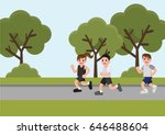 woman and men running in the... | Shutterstock .eps vector #646488604