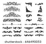 ornate scroll and decorative... | Shutterstock .eps vector #646490053