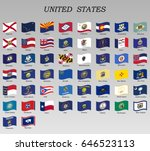 set of waving flags of states... | Shutterstock .eps vector #646523113