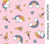 unicorn  rainbow and magic wand ... | Shutterstock .eps vector #646529194
