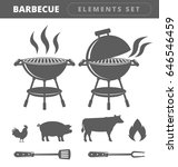 barbecue elements set | Shutterstock .eps vector #646546459