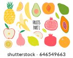 hand drawn tropical and exotic  ... | Shutterstock .eps vector #646549663