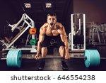 muscular men lifting deadlift... | Shutterstock . vector #646554238