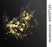Set of gold splash on black background vector illustration. Ink splash isolated on black background
