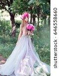 beautiful girl  in the peony... | Shutterstock . vector #646558660