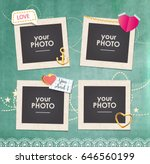 collage photo frame on vintage... | Shutterstock .eps vector #646560199