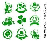 leaf clover labels and elements ... | Shutterstock .eps vector #646563784