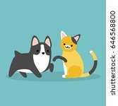 cat and dog flat editable... | Shutterstock .eps vector #646568800