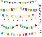colorful flags  vector carnaval ... | Shutterstock .eps vector #646569808