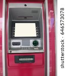 Small photo of ATM machine pink color. Business for using credit card to withdraw money from Automated Teller Machine to spend a purchase shopping