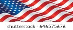 usa flag long drawn landscape... | Shutterstock .eps vector #646575676