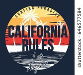 80's retro california rules... | Shutterstock .eps vector #646577584