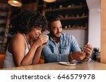 african woman having coffee... | Shutterstock . vector #646579978