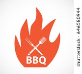 bbq icon with grill tools.... | Shutterstock .eps vector #646580944