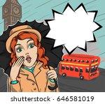 surprised girl in london under... | Shutterstock .eps vector #646581019