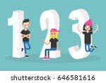 one two three conceptual digits ... | Shutterstock .eps vector #646581616