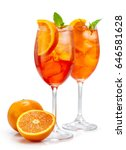 two glasses of aperol spritz... | Shutterstock . vector #646581628
