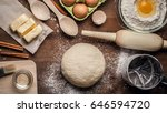 hands working with dough... | Shutterstock . vector #646594720