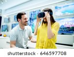 smiling friends buying 3d vr... | Shutterstock . vector #646597708