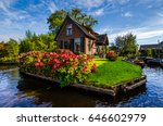 house with beautiful flowers on ... | Shutterstock . vector #646602979
