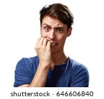 anxious man face. | Shutterstock . vector #646606840