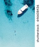 aerial view of a boat in front... | Shutterstock . vector #646608436