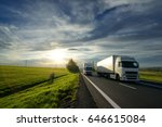 big truck overtaking a small... | Shutterstock . vector #646615084