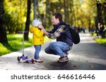 happy family in autumn park.... | Shutterstock . vector #646616446