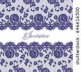 seamless vector blue lace...   Shutterstock .eps vector #646616500