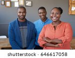 portrait of three casually... | Shutterstock . vector #646617058