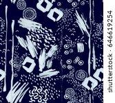 seamless hand drawn pattern  ... | Shutterstock .eps vector #646619254