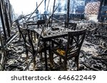 interior of burned down wooden... | Shutterstock . vector #646622449