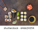 vegetarian sushi with soy sauce ...   Shutterstock . vector #646624354