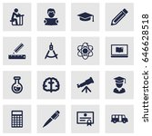 set of 16 education icons set... | Shutterstock .eps vector #646628518