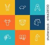 set of 9 beast outline icons...   Shutterstock .eps vector #646628530